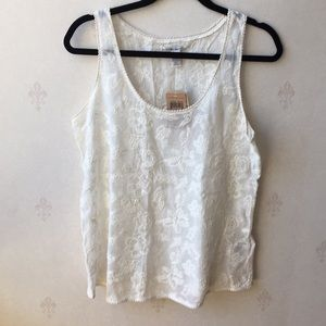 Lucky Brand Sheet Lace Tank Top Size M NWT